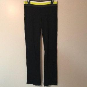 Pants - G.W. Black Yoga Pants w/ Yellow & White Waistband